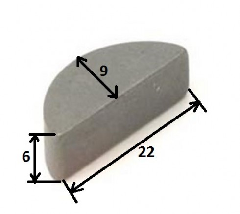 Шпонка півмісяць напівкругла 6x9x22mm