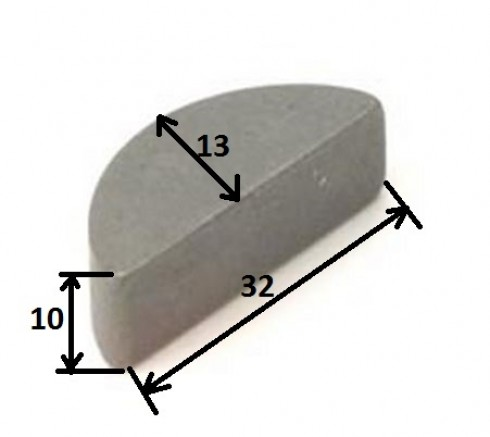 Шпонка півмісяць напівкругла 10x13x32mm