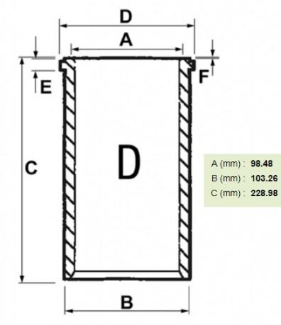Гільза заготовка без бортика двигун Perkins 4.212, 4.236, 6.354 (fi98,48мм)