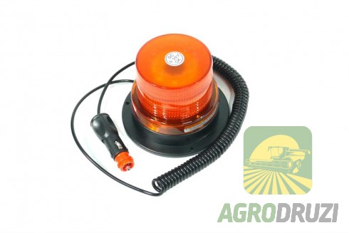 Проблисковий маячок для комбайнів та великогабаритних агрегатів 130x95mm (на магніт, 12-24V)