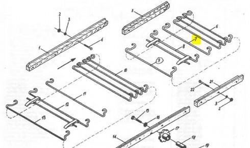 Пруток гаковий залізного транспортера стола коротший