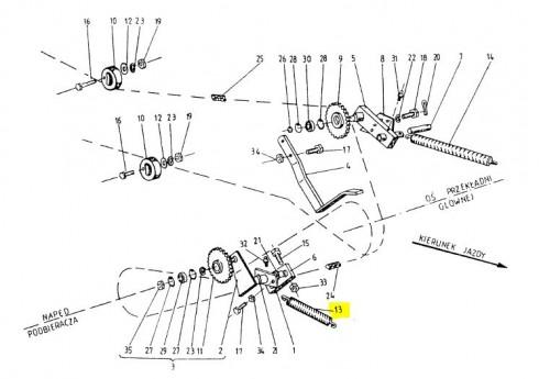 Пружина натяжна зірочки приводу підбирача (неоригінал) 089-000976-5.911