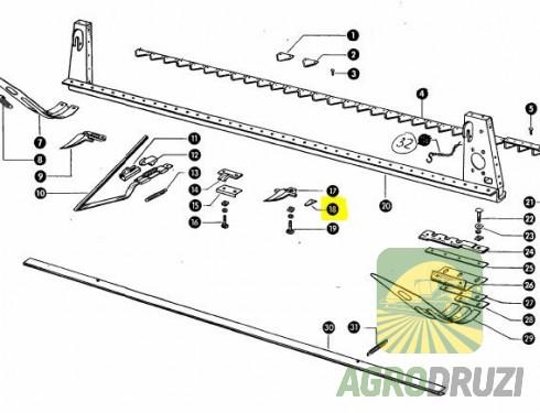 Противоріжуче пальців жатки AGV CLAAS, MF 522184